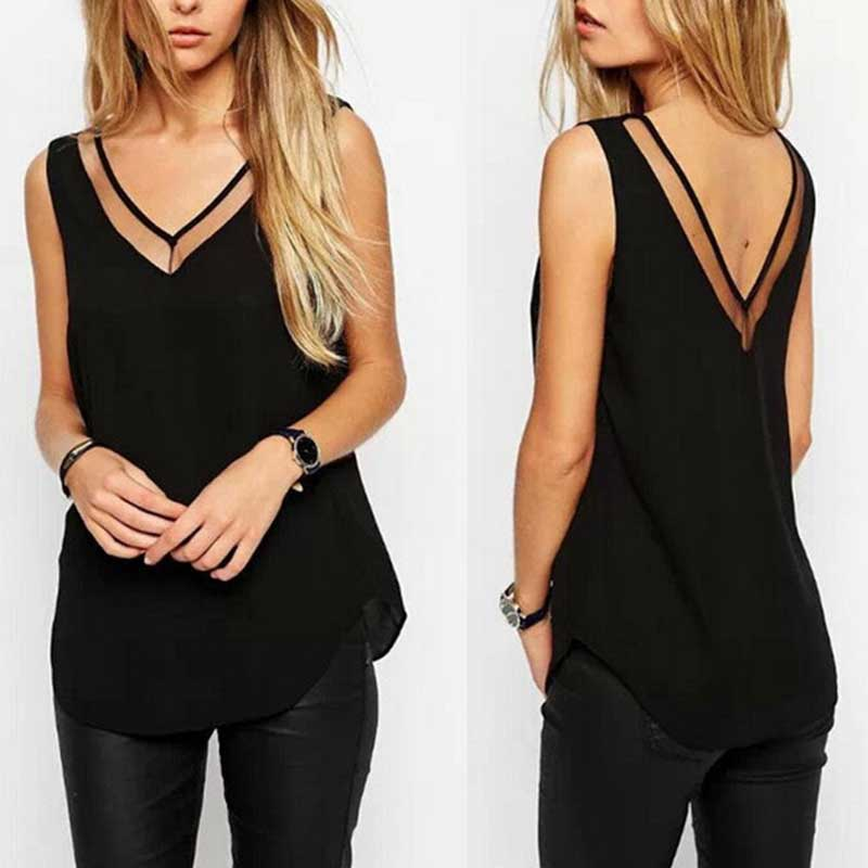Fashion Chiffon Slim Loose V-Neck Sleeveless Vest Shirt Blouse Tops For Women Girls TT@88