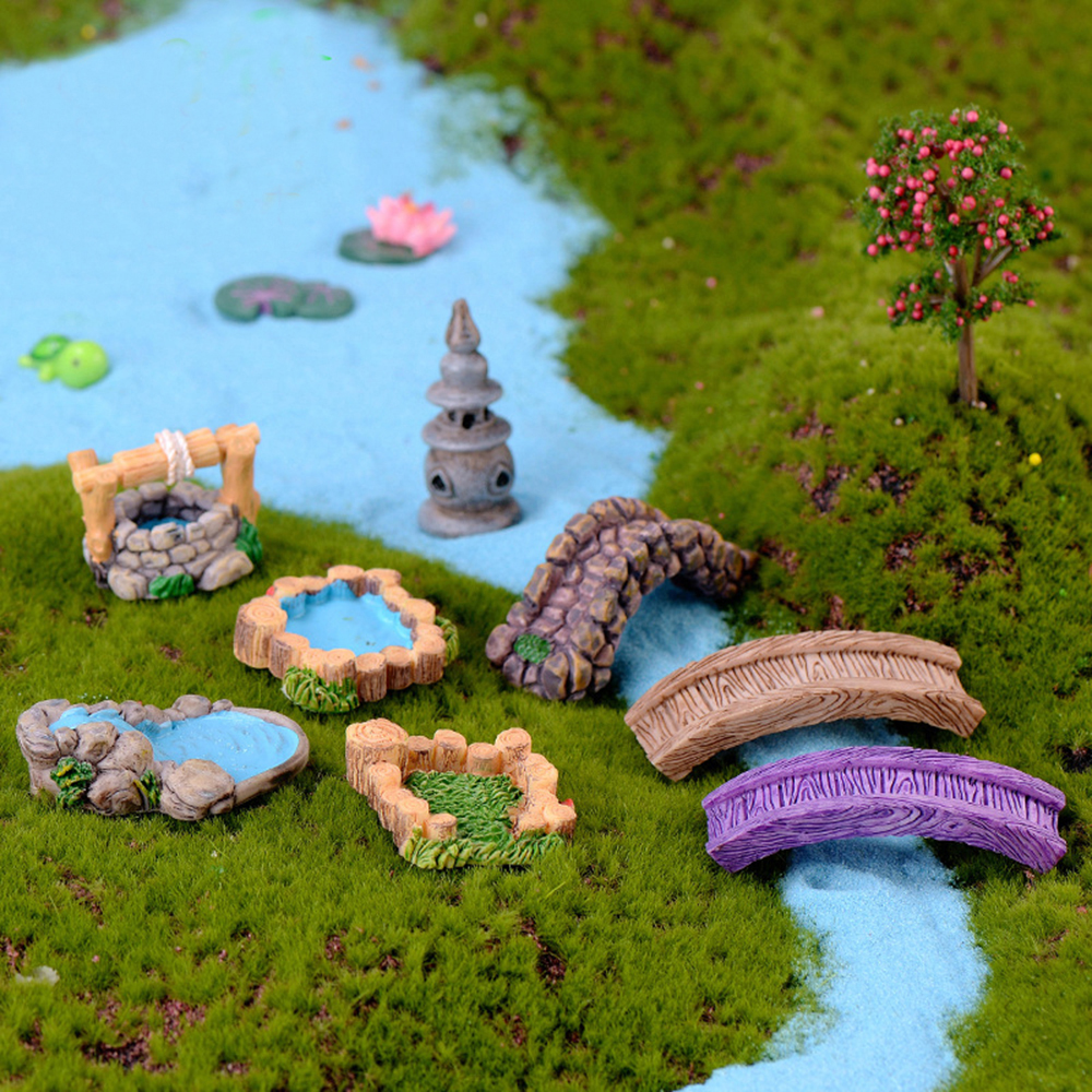 DIY Miniature Mini Water Pool Tree House Fairy Garden Lawn Ornament For Mountain Dollhouse Home Decor Craft