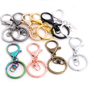 5pcs/lot 30mm Key Ring Long 70mm Popular classic 11 Colors Plated lobster clasp key hook chain jewelry making for keychain