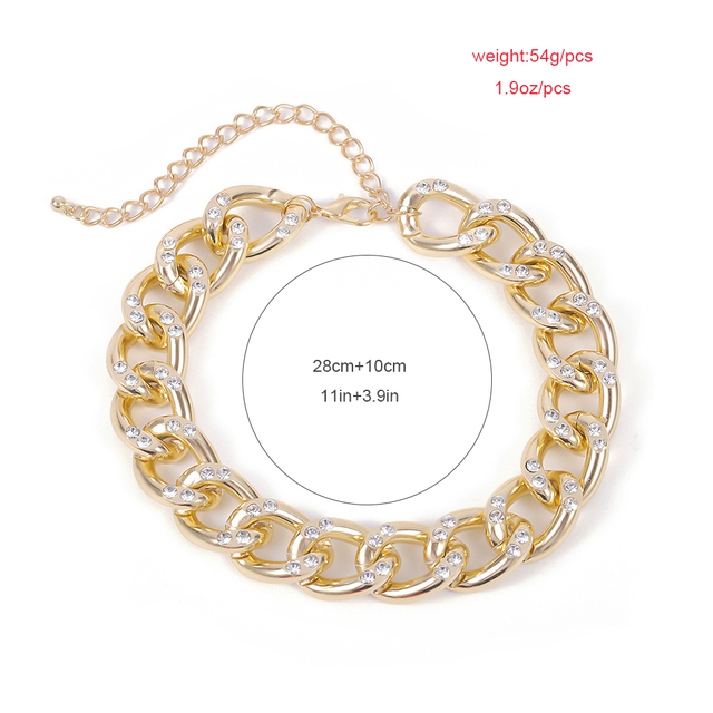 New Punk Choker Necklace for Women 2020 fashion Rhinestone Hip Hop Gold collares Thick Chain Jewelry Gifts#38 6