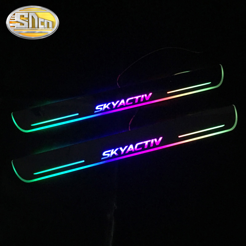 SNCN Colorful Acrylic Moving LED Welcome Pedal Car Scuff Plate Pedal Door Sill Pathway Light For Mazda 3 Skyactiv 2014 - 2019