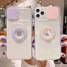 Custodia per telefono con supporto per anello di protezione per fotocamera Candy Slide per iPhone 12 Mini 11 Pro XR XS Max X 7 8 Plus Cover posteriore morbida antiurto