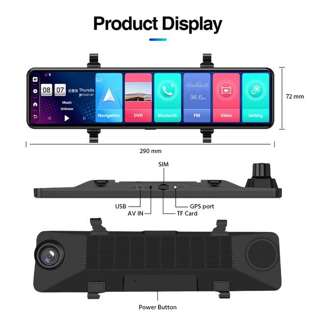"ACCEO12"" Car DVR Rearview Mirror 4G Android 8.1 Dash Cam GPS Navigation ADAS FHD 1080P Auto Video Recorder Camera WiFi Dashcam 5"