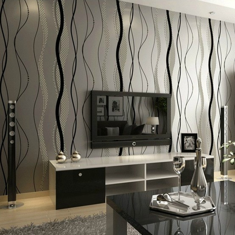 Modern Minimalist Black Gray Wave Pattern Non-woven Wallpaper Bedroom Living Room Sofa TV Backdrop Stripes Wallpaper