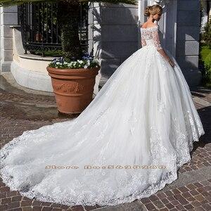 Image 2 - Vestido de princesa 2 en 1, vestidos de boda con media manga con cuentas y perlas en la cintura, vestidos de novia 2 en 1 con apliques blancos