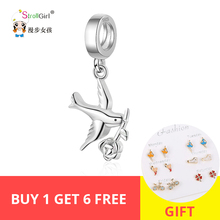 StrollGirl 100%925 Sterling Silver Bird Rose Pendant Animal Charm Beads for Pandora Bracelet Women Fashion Jewelry Free Shipping цена