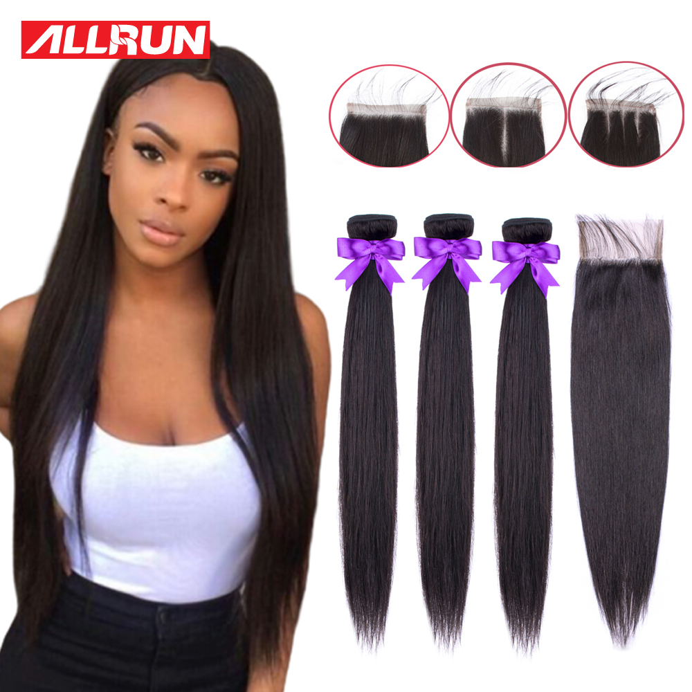 Allrun Bundles With Closure Brazilian Hair Weave Bundles Straight Hair Bundles With Closure Non Remy Hair Extensions