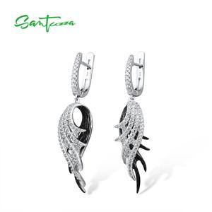 Image 2 - SANTUZZA כסף נוצת Drop עגילים לנשים 925 סטרלינג עגילי כסף שחור לבן נוצת תכשיטים