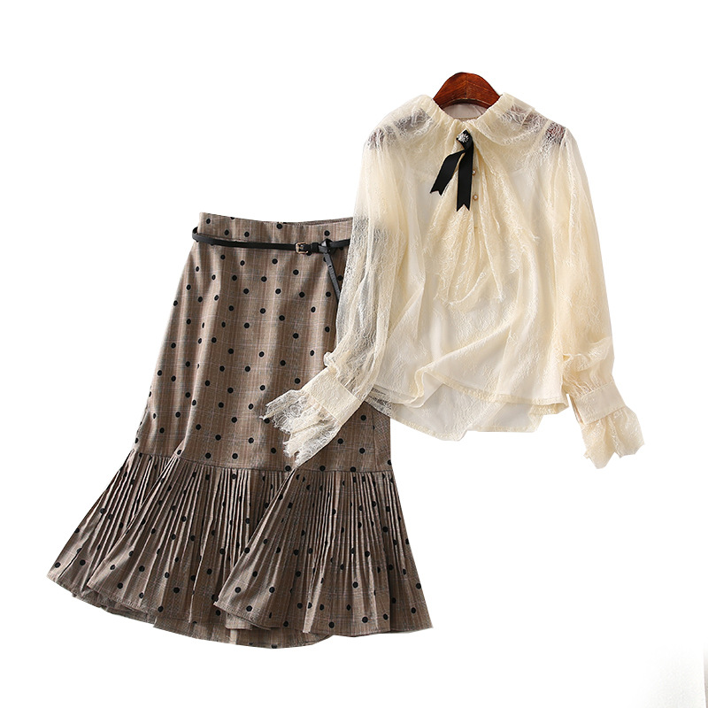 A Generation Of Hollow Out Lace Crochet Shirt Polka Dot Pleated Skirt Two-Piece Women's Entity