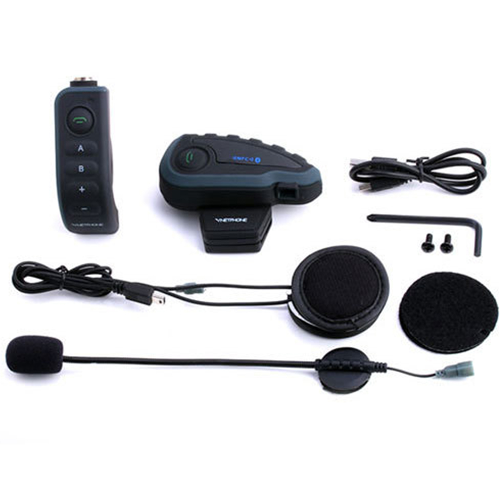 V8 Intercom 5-Way Bluetooth Motorcycle Helmet Headset Stereo MP3 NFC Remote Control Support Smart Phone With FM