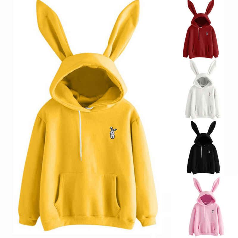 女性バニーウサギの耳パーカーパーカー女性の冬の長袖プルオーバーのセーターの綿無地デザインジャンパーカジュアルトップス生き抜く