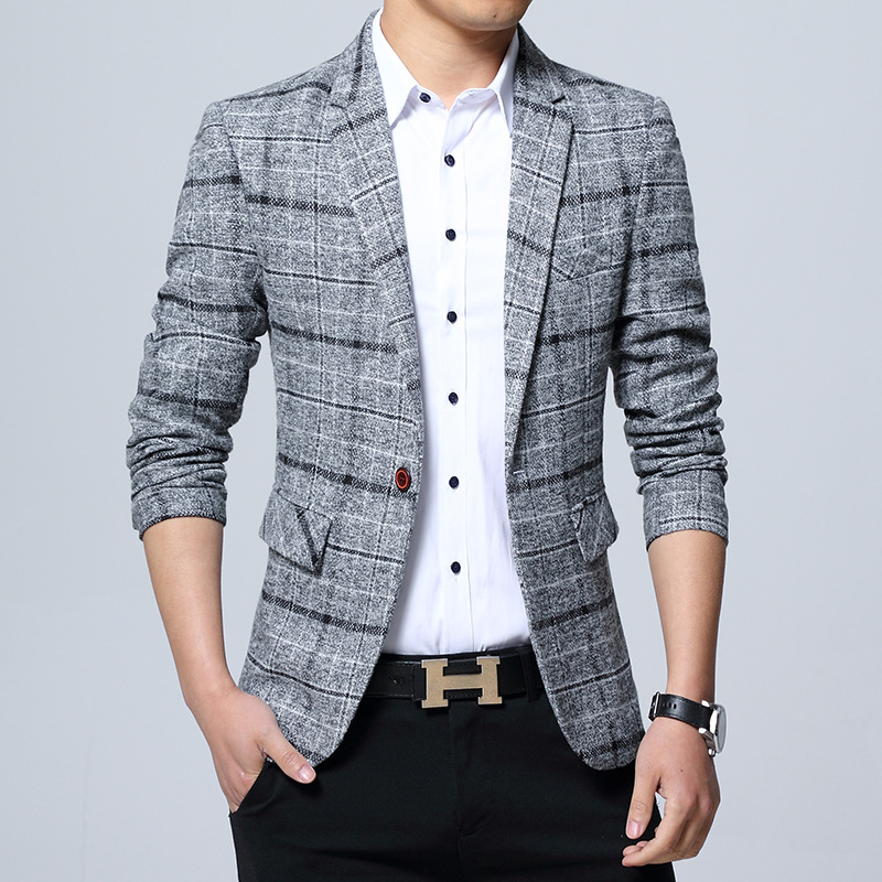 M-5xl Autumn And Winter Hot Selling Large Grid Suit Large Size Suit-Style Korean-style Men's Casual Sweater Suit
