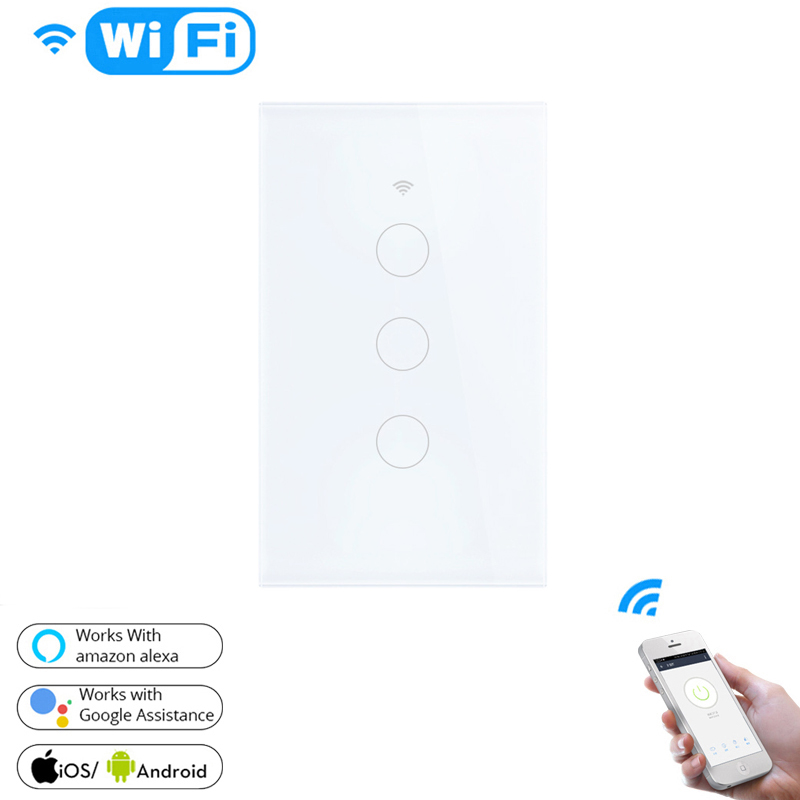 Single Fire Wifi Smart Switch 120 American Channel 3 Wifi Smart Wall Switch Support Tuya Alexa Google Home