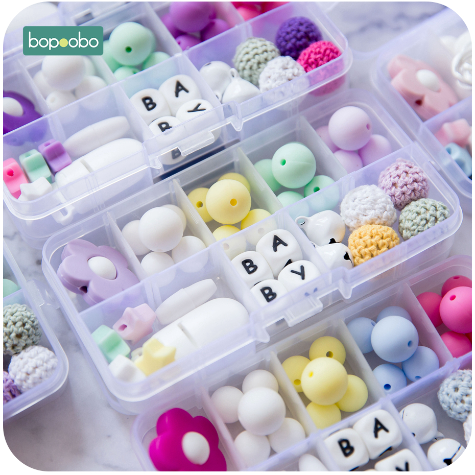 Bopoobo DIY Flower Animals Silicone Beads Set Food Grade Silicone Teethers Sensory Chewing Toys Crafts Accessories Baby Teether