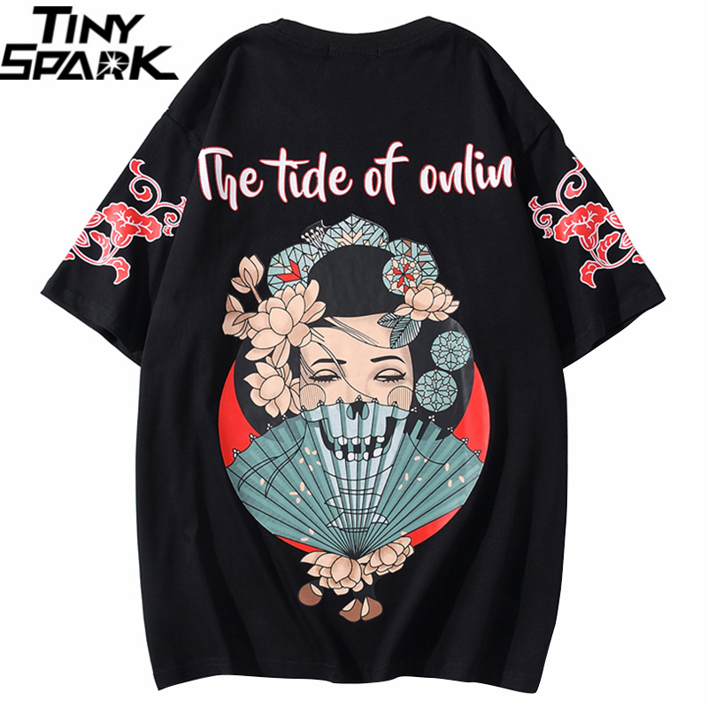 2020 Men T Shirt Hip Hop Streetwear Oversize Tshirt Skull Geisha Japanese Harajuku T-Shirt Summer Short Sleeve Cotton Tops Tees