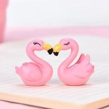 Zocdou 1 peça squinting flamingo pequena estátua estatueta micro artesanato ornamento miniaturas diy casa decoração do jardim boneca brinquedo