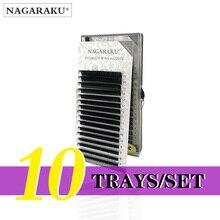 NAGARAKU 10 casi commercio allingrosso 7 ~ 15mm della miscela 16 righe/caso naturalmente artificiale visone estensione del ciglio, mano make, naturale lungo