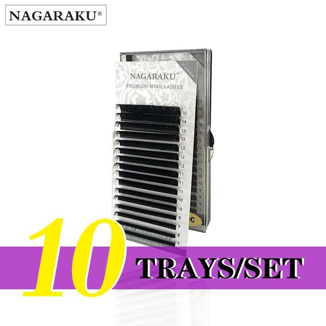NAGARAKU 10cases wholesale   7~15mm mix 16rows/case naturally artificial mink eyelash extension, hand make, natural long