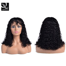 Bob Curly Lace Frontal Wigs With Bangs Brazilian Remy Lace front Human Hair Wig Pre Plucked With Baby Hair 150%Density Deep Wave(China)