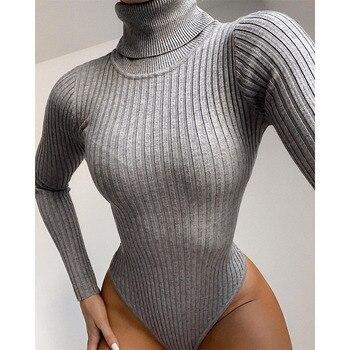 Long Sleeve Turtleneck Bodysuit Women Winter Clothing Ribbed Knitted Skinny Women's Body Gray Black 2020 New Female Outfits 1