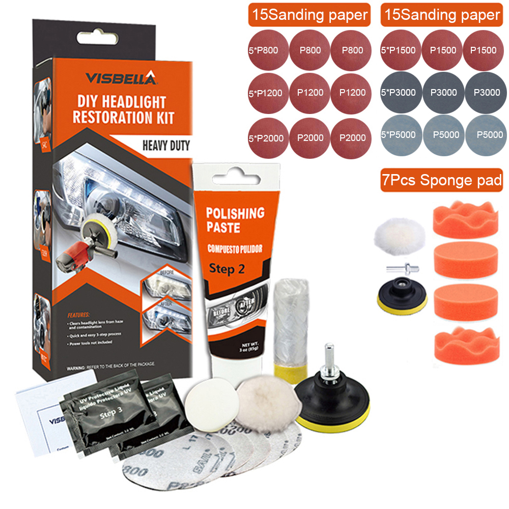 Car Headlights Repair Polishing Restoration Scratch Remove Refurbish Coating Oxidation Repair Chemical Car Light Repair Wax Kits