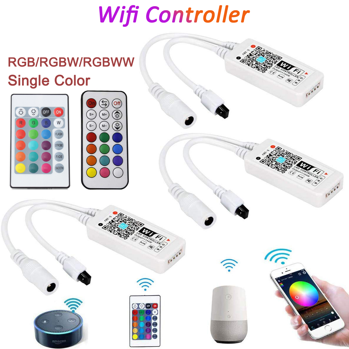 DC5V 12V 24V RGB LED WIFI Controller RGBW Rgbww Bluetooth WIFI LED Controller untuk 5050 2835 WS2811 WS2812B LED Strip Rumah Ajaib title=