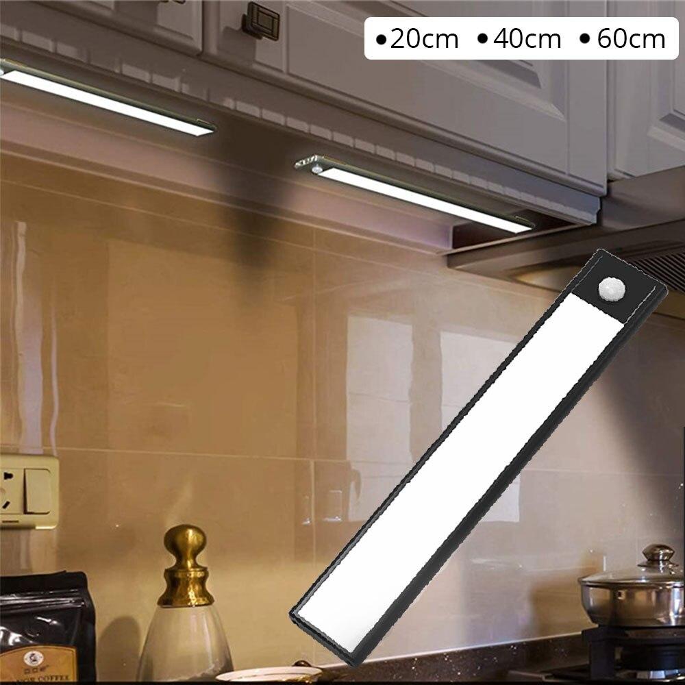 20/40/60cm pir sensor de movimento térmico led sob a luz do armário recarregável usb ultra fino alumínio escudo lâmpada luz da noite