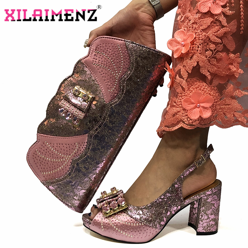 Image 5 - Magenta Color New Design Italian Women Shoes and Bag Set African 