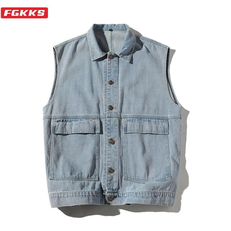 FGKKS Spring New Men Denim Vest Coats Fashion Brand Men's Hip Hop Solid Color Vest Simple Sleeveless Vest Jacket Male