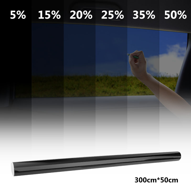 VODOOL 50cmx300cm Dark Black Car Window Tint Film Glass 5%-50% Roll Summer Car Auto House Windows Glass Tinting Solar Protection
