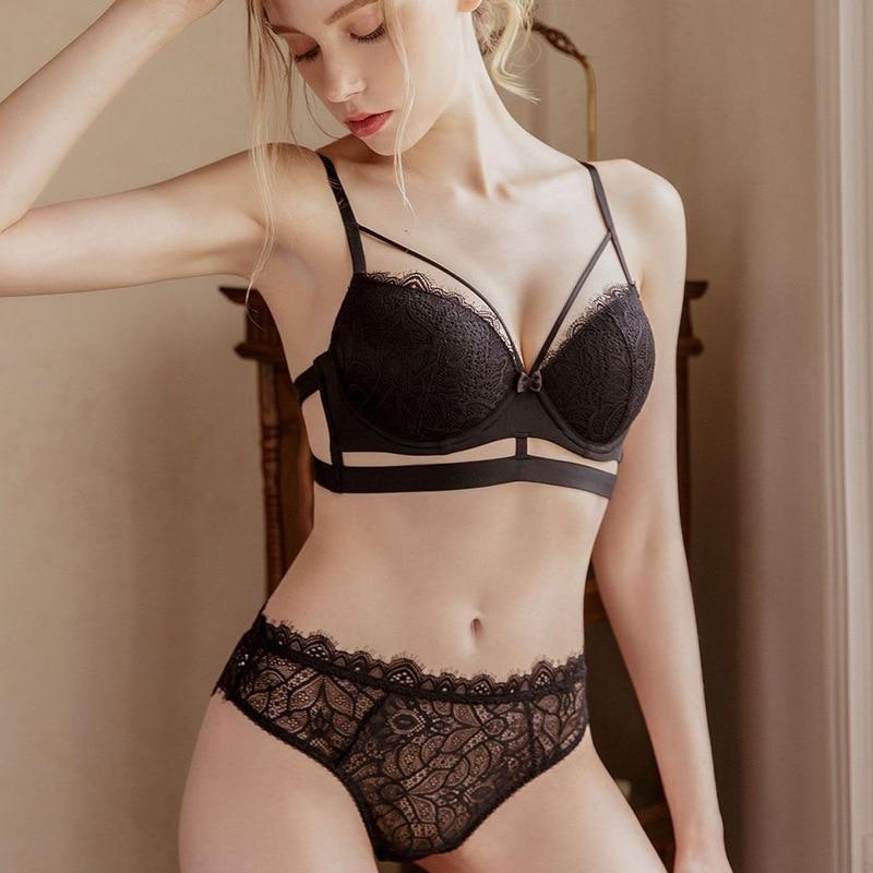 2020 nova sexy cílios rendas push up sutiã e calcinha conjunto de roupa interior feminina oco para fora bandagem de luxo lingerie branco preto vermelho