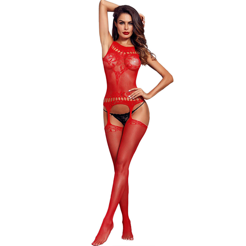 Shi Ying Sexy Lingerie New Style Sexy Valentine' Fishnet Hollow Out Garter Open Crotch Body-stocking Pajamas Women's 790062