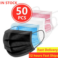50 Pcs Anti Gas Dust Mouth Face Masks Mask Mascherine Mascara Anti-droplet Mascarillas de Proteccion Disposable Mouth Facemask