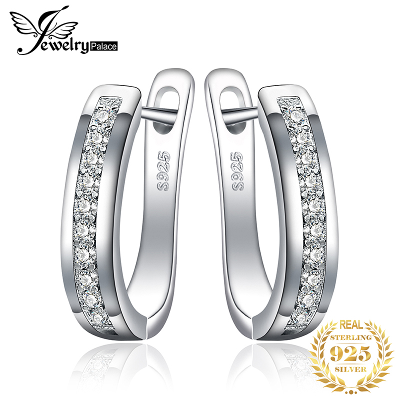 JewelryPalace CZ Hoop Earrings 925 Sterling Silver Earrings Untuk Wanita Saluran Eternity Subang Korea Barang Kemas Fesyen 2019