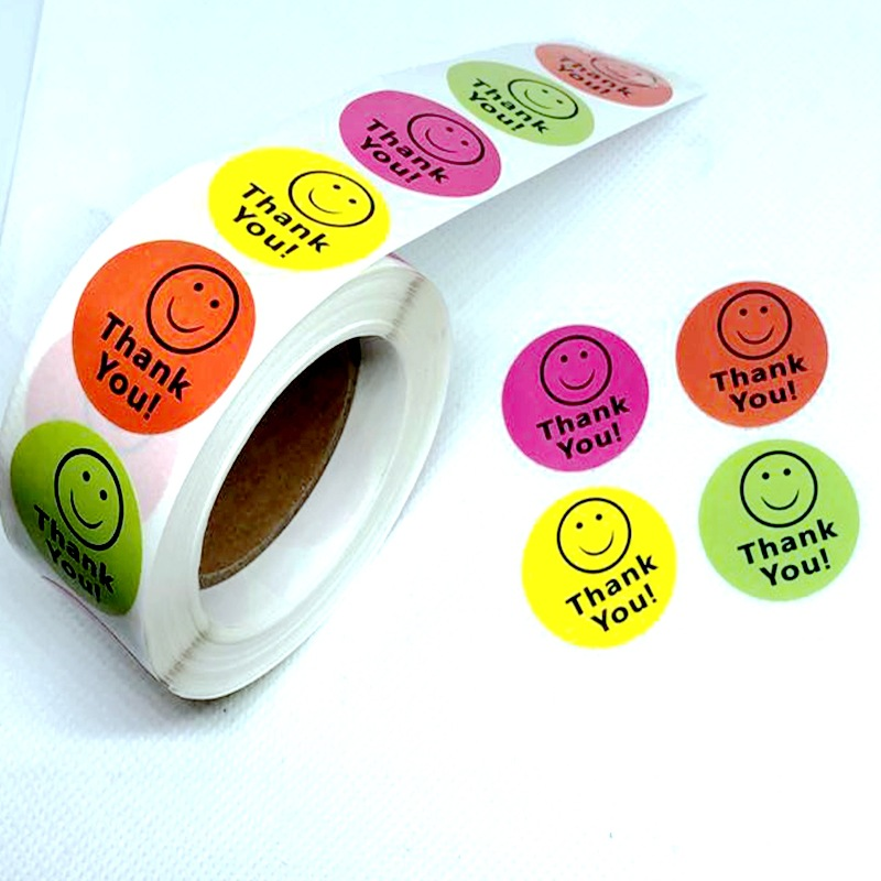 Round Colorful Smile THANK YOU Stickers 500pcs 1''Cake Biscuit Seal Labels Gift Box Adhesive Journal Sticker Kawaii Stationery