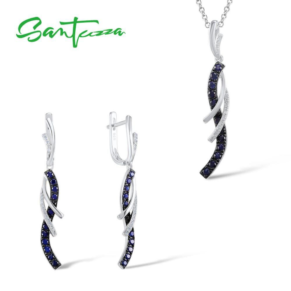 SANTUZZA ensemble de bijoux pour les femmes charmant bleu blanc CZ boucles d'oreilles goutte ensemble de pendentif-pur 925 en argent Sterling bijoux de mode