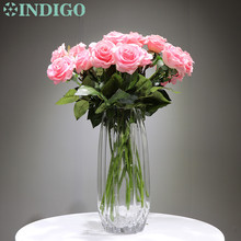 INDIGO - 21pcs/Lot Latex Coating Pink Rose Real Touch Artificial Flower Wedding Party Event Free Shipping
