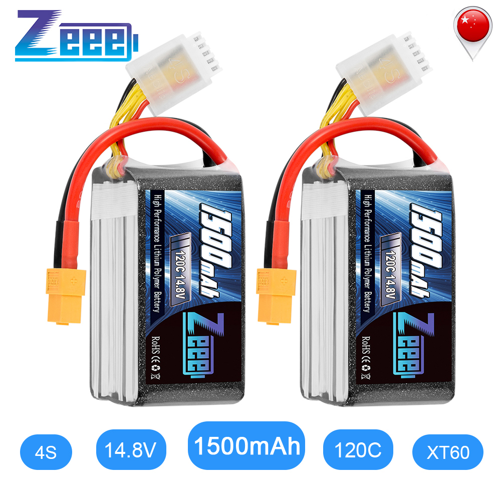 2UNITS Zeee <font><b>Lipo</b></font> Battery 14.8V 120C <font><b>1500mAh</b></font> <font><b>4S</b></font> Graphene RC <font><b>Lipo</b></font> Battery Pack with XT60 Plug for RC Car Truck Airplane FPV image