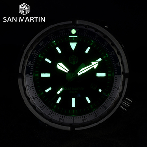 Image 5 - San Martin TUNA Diver Stainless Steel Watch Men Quartz Watches VS37 Solar Sapphire Crystal Date Display Waterproof Super Glow