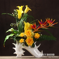 New High simulation large flower arrangement Real touch artificial rose calla lily Anthurium with ceramic vase yellow flower art