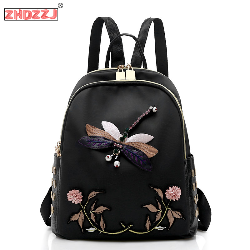 School-Bags Backpacks Embroidery Dragonfly Nylon Teenage-Girls Retro Female Travel Waterproof title=