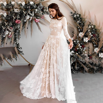 2020 Vintage Wedding Dresses Sexy Backless Long Sleeves Lace Boho Beach Bridal Dress Champagne Bohemian Gowns - discount item  45% OFF Wedding Dresses