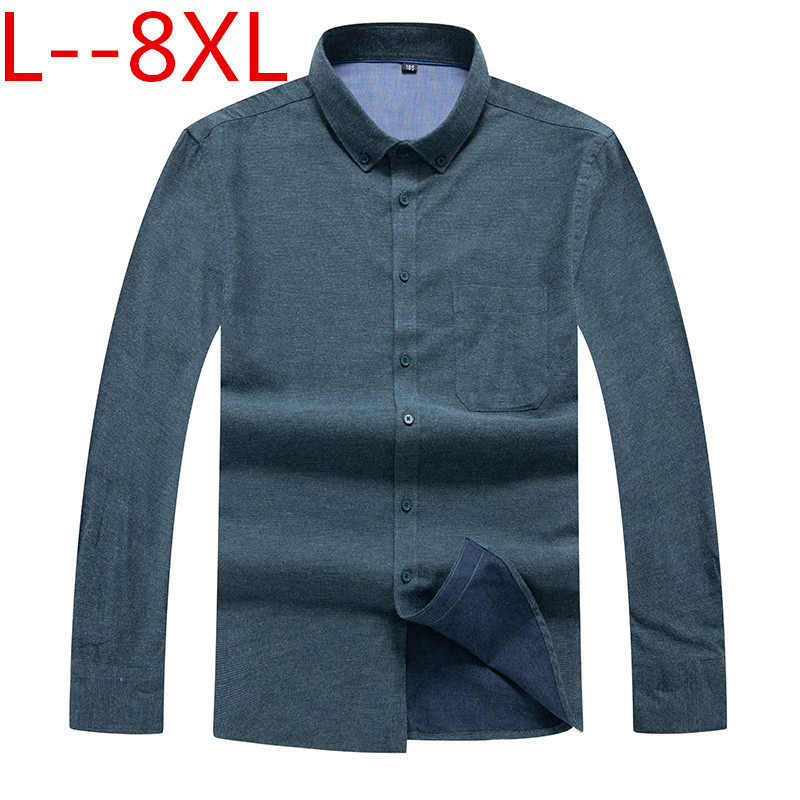 Plus Size  8XL 7XL Business Shirts  New Fashion Brand Clothing Mens Long Sleeve Work Shirt Slim Fit Shirt Casual Shirt