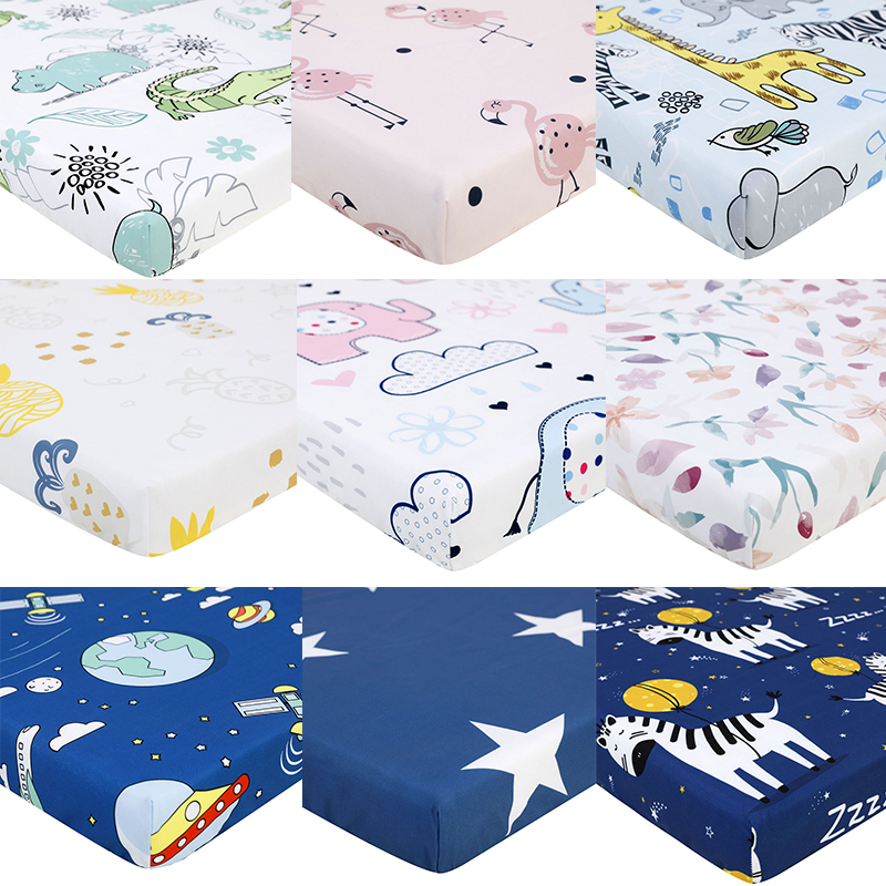 130cm * 70cm 100% Polyester Crib Soft Fitted Sheets Baby Bed Mattress Covers Printed Newborn Bedding Set For Children Mini Crib
