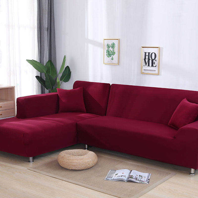 l shaped sofa cover 2pcs cover for corner sofa wine red color tight wrap sofa cover elastic if l style sectional corner sofa