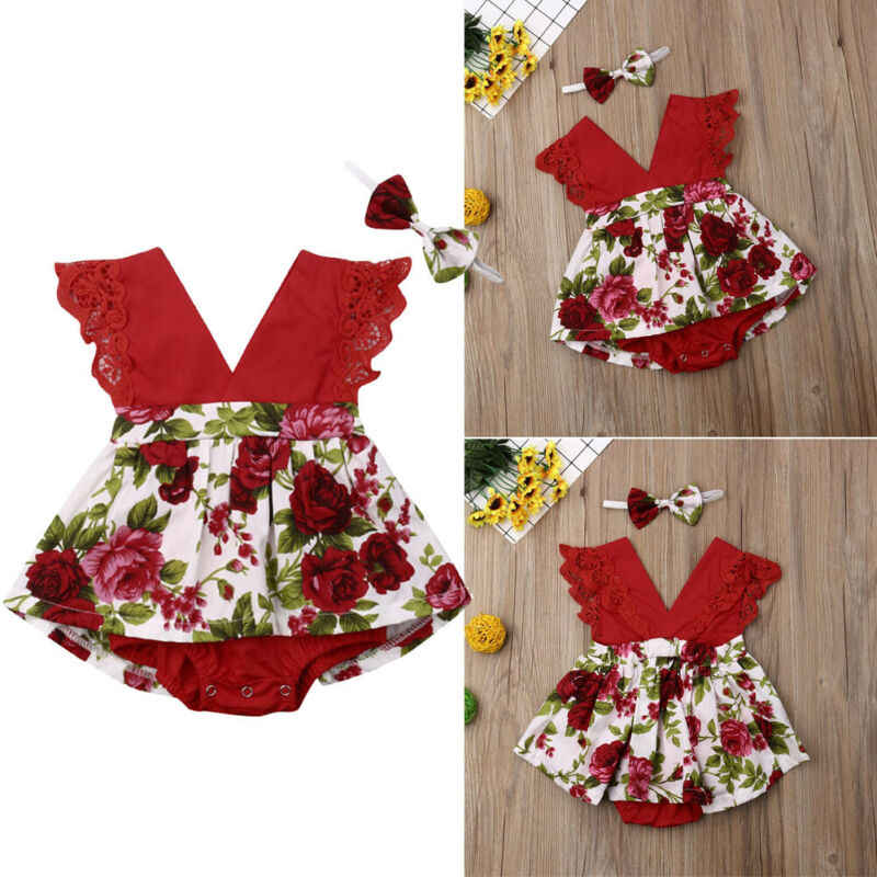 Baby Zomer Kleding Baby Baby Meisjes Bloemen Speelpakje Mouwloze Kant V-hals Ruches Jumpsuit Hoofdband Outfits