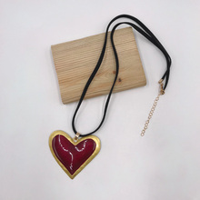 Kara&Kale Boho Fashion Jewelry Gothic Heart Shaped Pendant Necklace Black Suede Cord Charms Vintage Collares Long Women