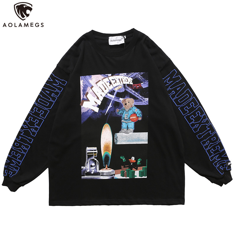 Aolamegs Men Sweatshirt Spaceship Funny Picture Print Harajuku Pullover Autumn Hip Hop Loose Oversize Hoodies Streetwear Couple
