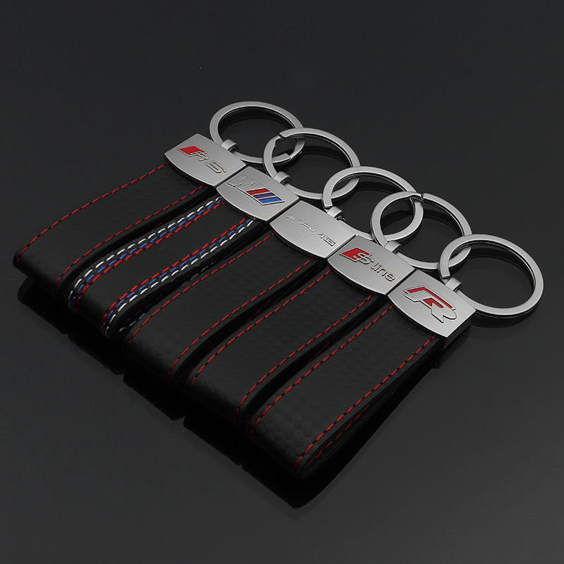 Fashion Volkswagen Model M Tri-color R Rs Sline AMG Leather Keychain Volkswagen Model Car Key Ring Pendant Q12