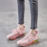 2020 الصيف منصة جورب أحذية الوردي أسود أبيض النساء أحذية رياضية شبكة هلام أحذية تنس المدربين الملونة حذاء كاجوال-في أحذية مطاطية نسائية من أحذية على